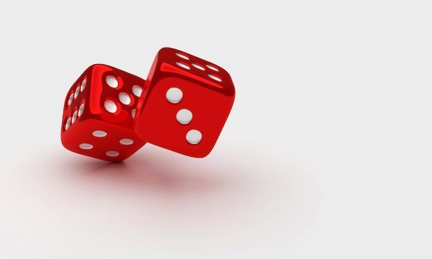Dwa czerwonego ludo kostka do gry na białym tle