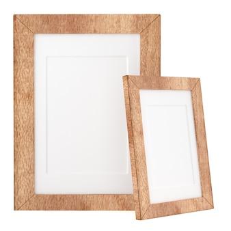 Dwa drewnianej ramy odizolowywającej na białym tle