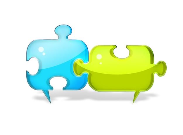 Dwa dymki w postaci kawałków układanki z koncepcją dialogu