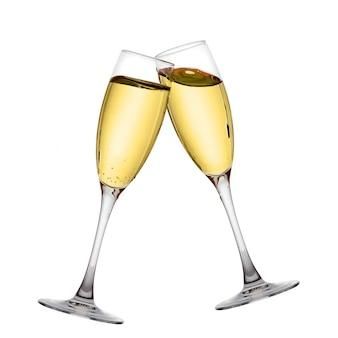 Dwa eleganckie kieliszki do szampana o wysokiej rozdzielczości obrazu