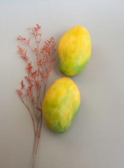Dwa indyjskie mango umieszczone obok czerwonego suszonego kwiatu, na tle