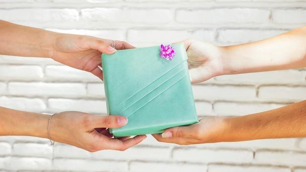 Dwa kobiet przyjaciela ręki mienia zieleni prezenta pudełko przed ściana z cegieł