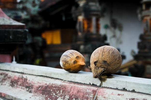Dwa kokosy na betonowym płocie, jeden z nich jest zepsuty i wypływa z niego mleko kokosowe