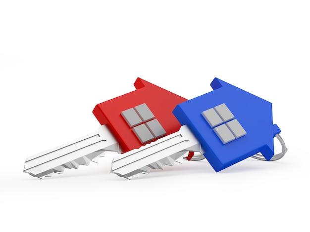 Dwa kolorowe klucze do domu. 3d