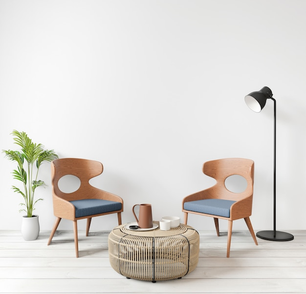 Dwa krzesła, drewniana podłoga, w salonie z surowym betonowym murem w stylu loftu