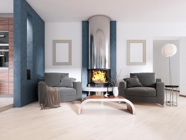 Dwa krzesła przy kominku w stylu współczesnym. renderowanie 3d
