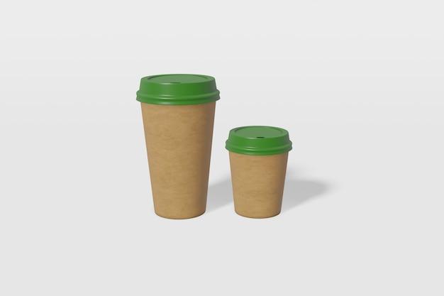 Dwa kubki papierowe w brązowym kolorze o różnych rozmiarach z zieloną pokrywką. renderowanie 3d