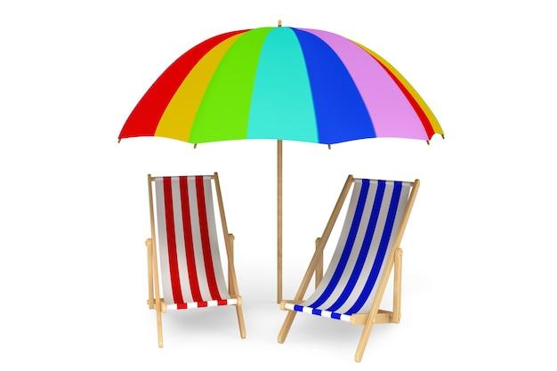 Dwa leżaki pod parasolem na białym tle