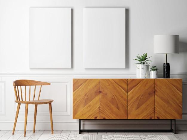 Dwa makiety plakatów z drewnianą komodą