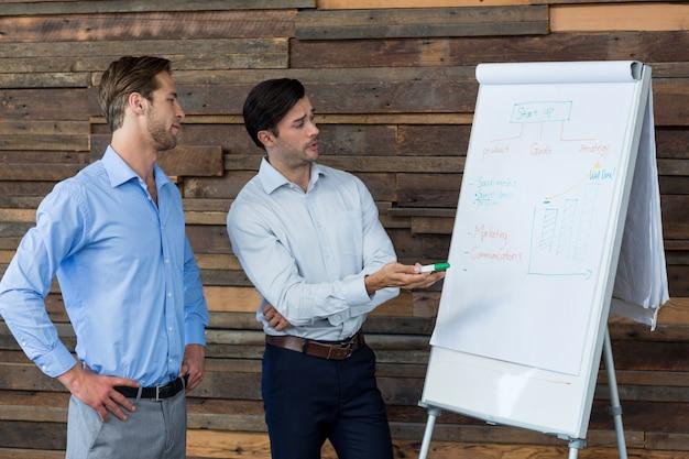 Dwa męskiego dyrektora wykonawczego dyskutuje nad flipchart