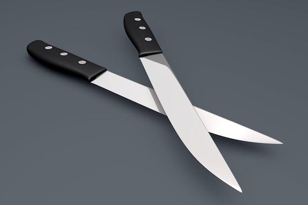 Dwa noże na szarym tle. 3d renderowane ilustracja.