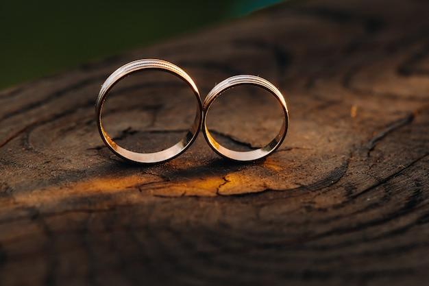 Dwa obrączki ślubne na drewnianej podstawie na złoty pierścionek kochającej się pary ślubnej