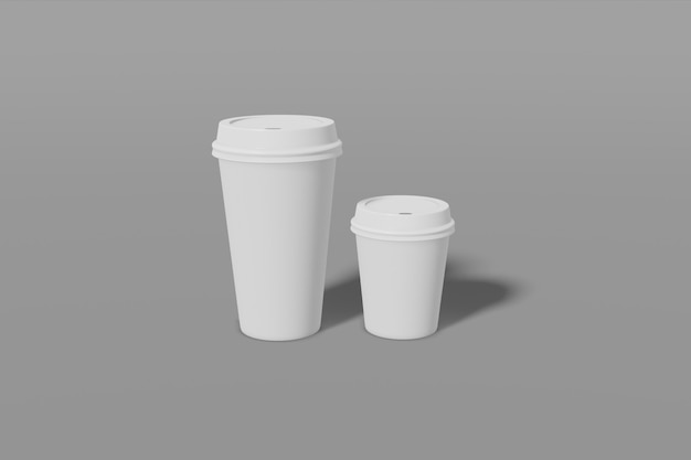 Dwa papierowe kubki różnej wielkości z szarym wieczkiem