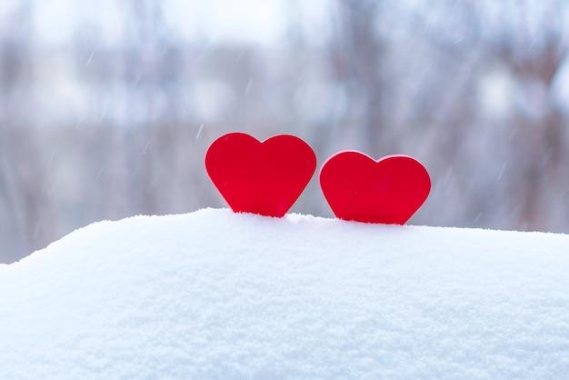 Dwa pięknego serca na zimy tle