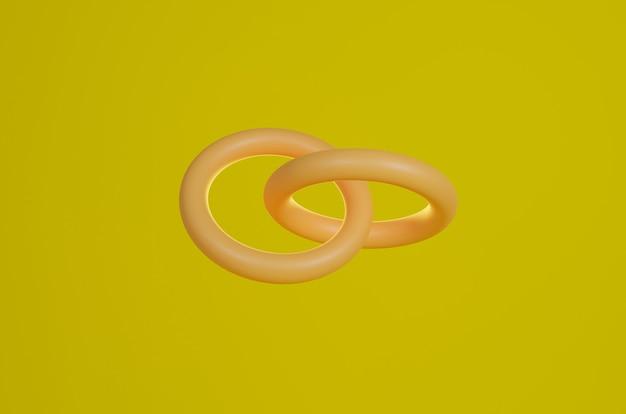 Dwa pierścienie połączone renderowania 3d