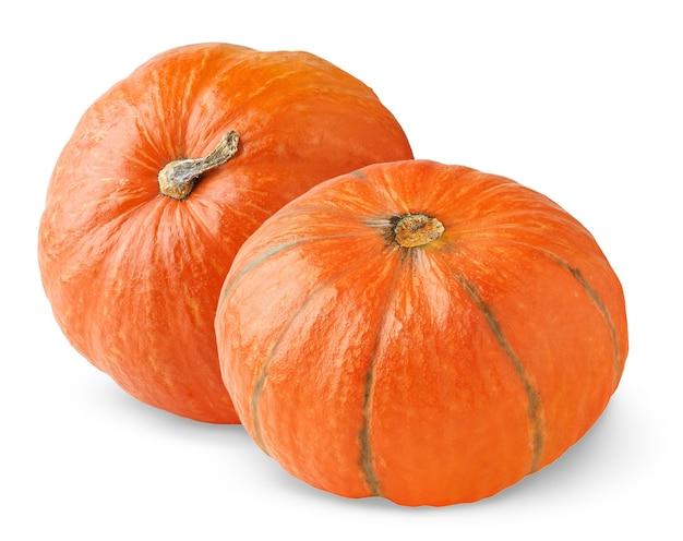 Dwa pomarańczowe dynie na białym tle