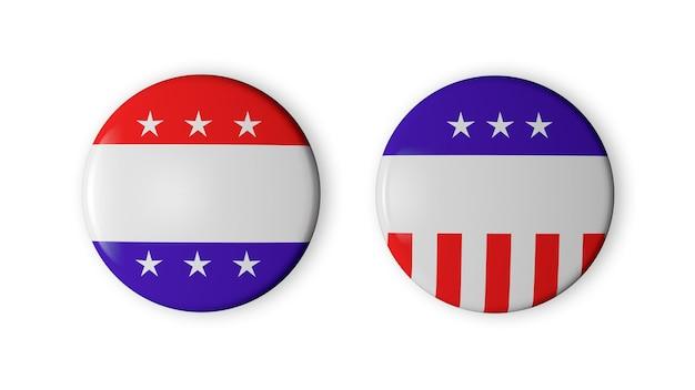 Dwa puste odznaki wyborcze w usa na białym tle. idealny do twojego projektu.
