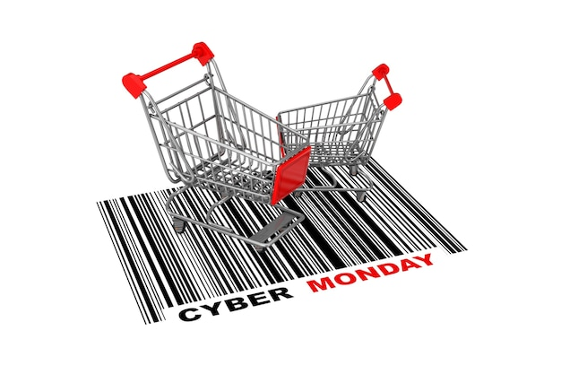 Dwa puste wózki na zakupy nad streszczenie kodu kreskowego z cyber poniedziałek znak na białym tle. renderowanie 3d