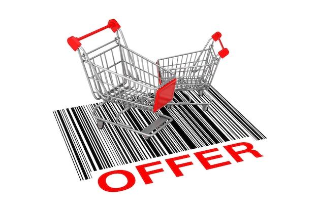 Dwa puste wózki na zakupy nad streszczenie kodu kreskowego z oferty znak na białym tle. renderowanie 3d