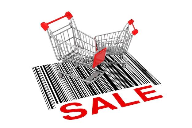 Dwa puste wózki na zakupy nad streszczenie kodu kreskowego ze znakiem sprzedaży na białym tle. renderowanie 3d