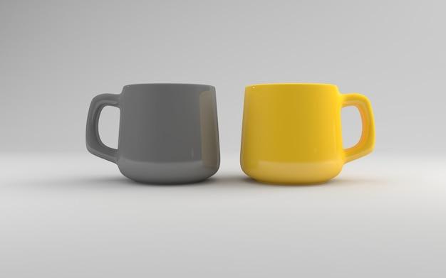 Dwa realistyczne kubki mockup 3d renderowane