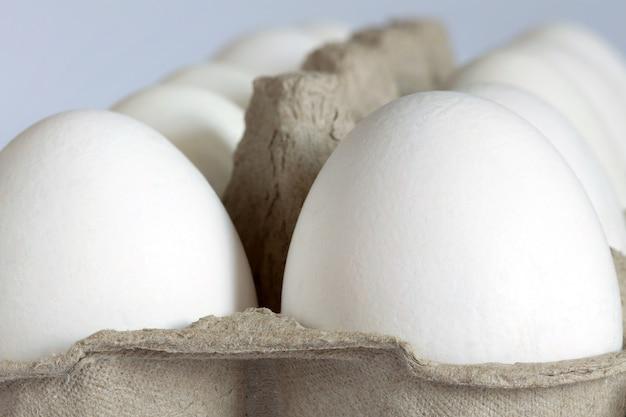 Dwa rzędy białych jajek umieszczonych w kartonie. zbliżenie.