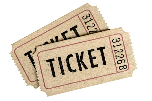 Dwa starych filmu biletowy karcz odizolowywający odosobniony tło.
