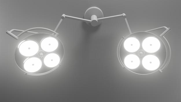 Dwa światła operacyjne w sali operacyjnej. renderowanie 3d