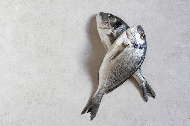 Dwa świeże surowe morskie organiczne dorado lub dorada na szarym tle