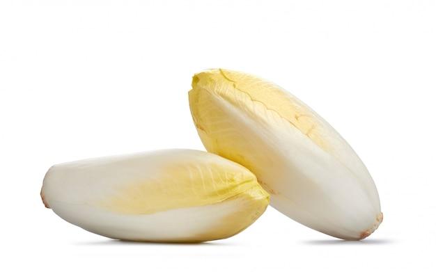 Dwa świeżej cykorii odizolowywającej na bielu