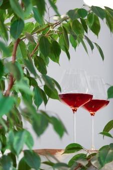 Dwa szkła czerwone wino na drewnianym stole w nowożytnej kuchni i roślinie