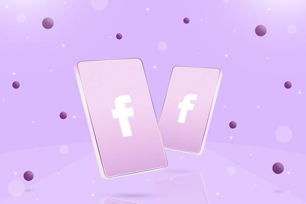 Dwa telefony z ikoną logo facebooka na ekranach i kulkach wokół 3d