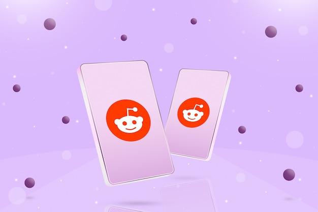 Dwa telefony z ikoną logo reddit na ekranach i kulki wokół 3d