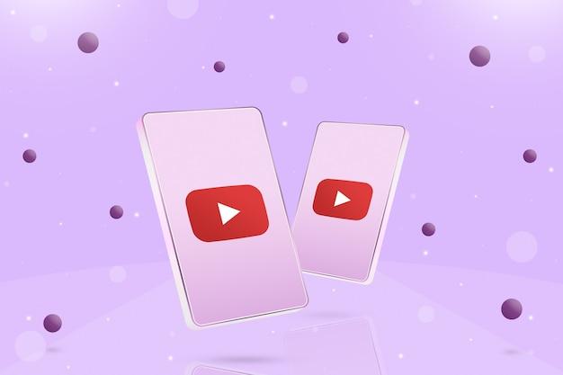 Dwa telefony z ikoną logo youtube na ekranach i kulkami wokół 3d