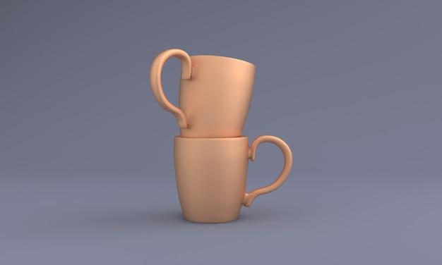Dwa ułożone w stos realistyczne kubki mockup 3d renderowane