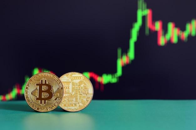 Dwa złote bitcoiny leżą na zielonej powierzchni na tle wyświetlacza