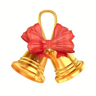 Dwa złote dzwony z kokardą na białym tle. izolowana ilustracja 3d