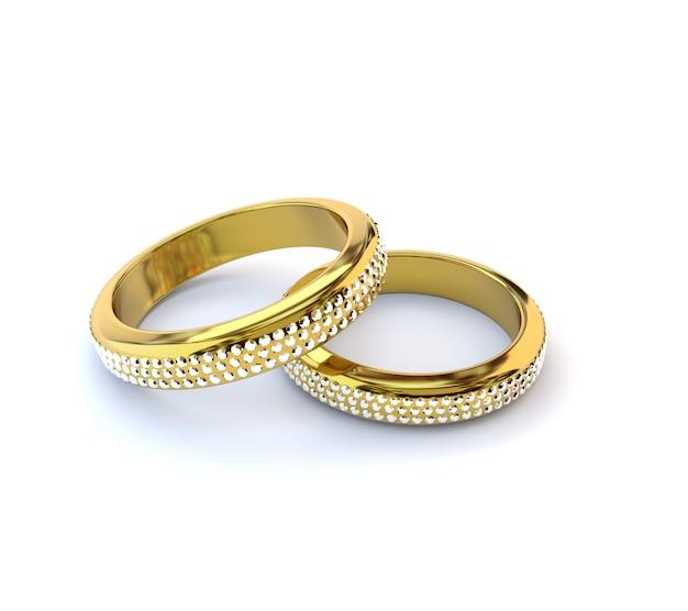 Dwa złote pierścienie z diamentami na białym tle. ilustracja 3d, render