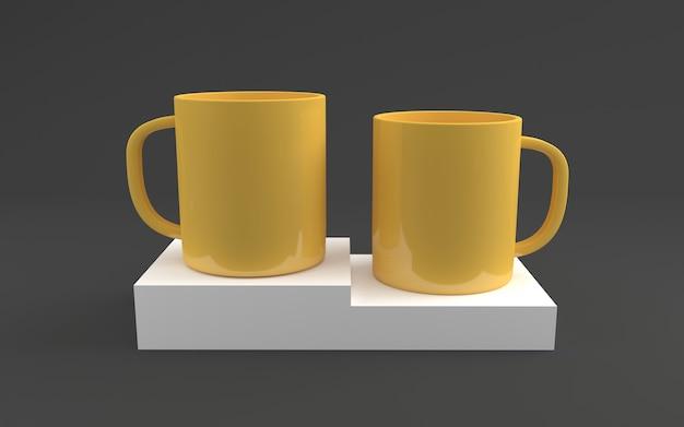 Dwa żółte realistyczne kubki mockup 3d renderowane