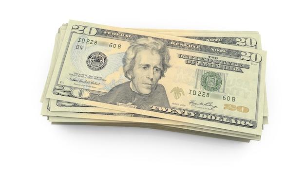 Dwadzieścia dolarów amerykańskich banknotów z bliska, usa federalne karmione rezerwy uwaga renderowania 3d