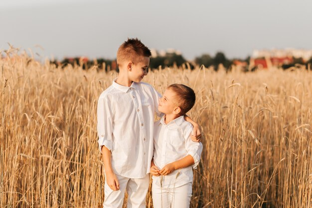 Dwaj bracia mali chłopcy bawią się i chodzą na łonie natury w lecie. szczęśliwe dzieciństwo. pozytywne emocje