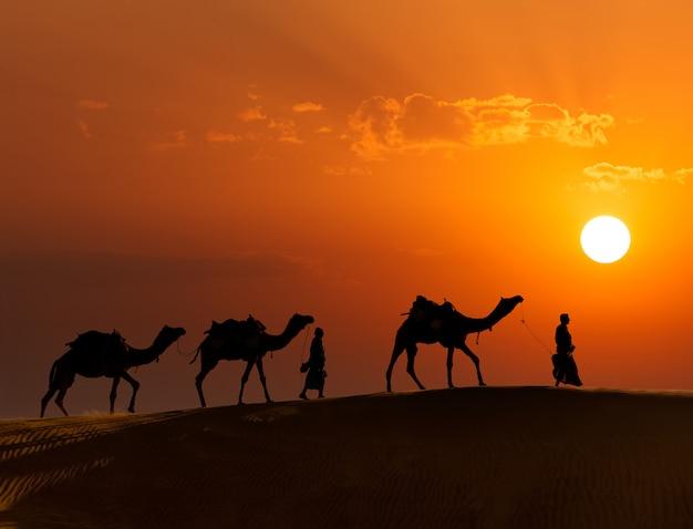 Dwaj wielbłądzi kierowcy wielbłądów z wielbłądami na wydmach pustyni thar