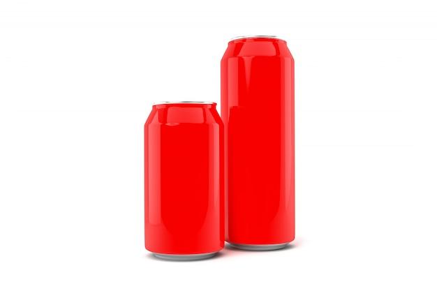 Dwie czerwone puszki po napojach