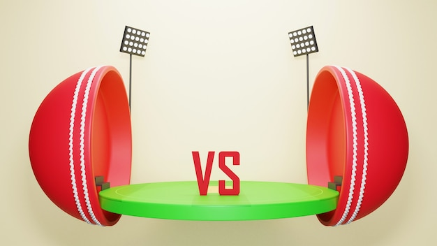 Dwie części 3d cricket ball z widokiem stadionu i uczestniczących drużyn na beżowym tle.