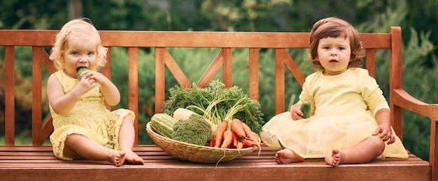 Dwie dziewczynki w żółtych sukienkach, boso, w zielonym ogrodzie siedzą na ławce obok dużego kosza warzyw z ogórkami, marchewką i brokułami.