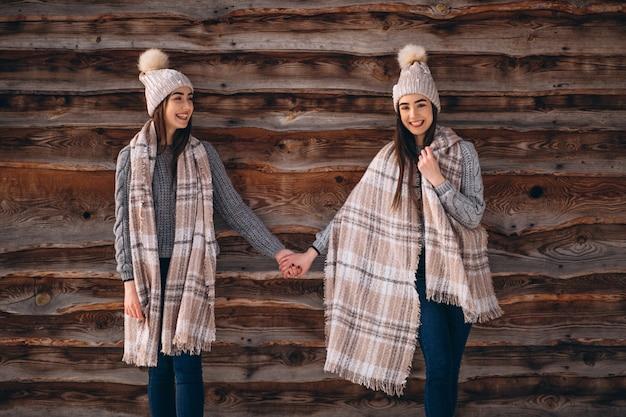 Dwie dziewczyny bliźniaki razem w winter park
