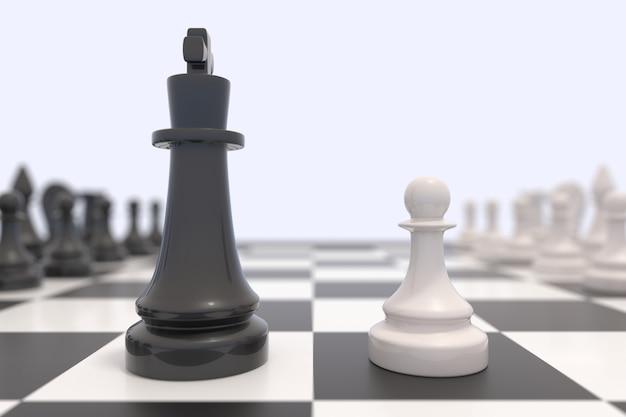 Dwie figury szachowe na szachownicy. czarno-biali królowie naprzeciw siebie. koncepcja konkurencji, dyskusji, porozumienia lub sprzeciwu i konfrontacji.