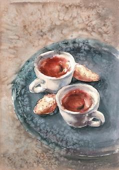 Dwie filiżanki kawy na stole z ciasteczkami - ilustracja akwarela