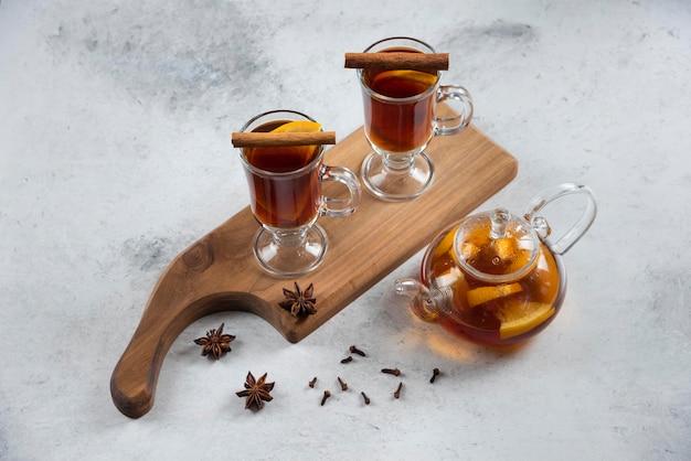 Dwie filiżanki z herbatą i laskami cynamonu.