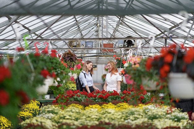 Dwie kobiety pozujące w szklarni między setkami kwiatów